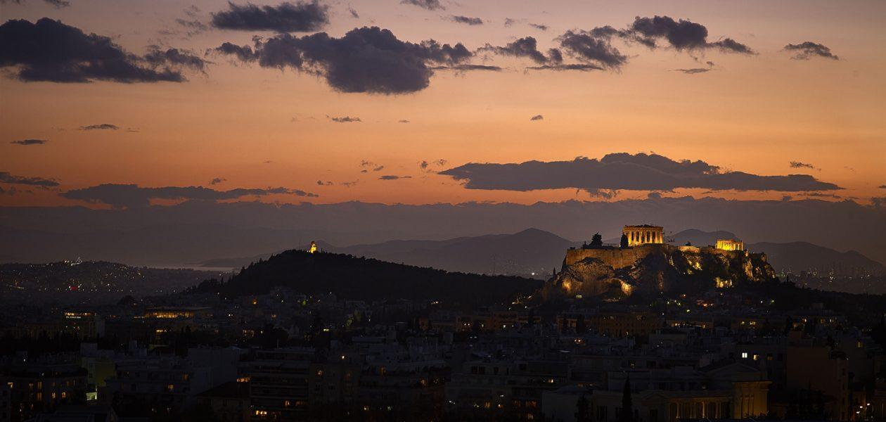 Vistas de la Acrópolis desde el Galaxy Bar del hotel Hilton Atenas
