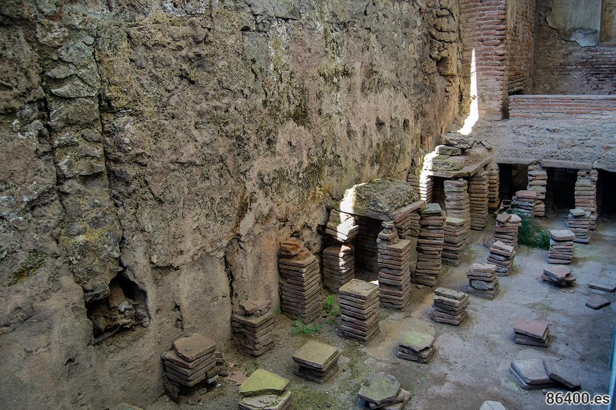 Sistema de conducción del calor en los baños públicos de Pompeya