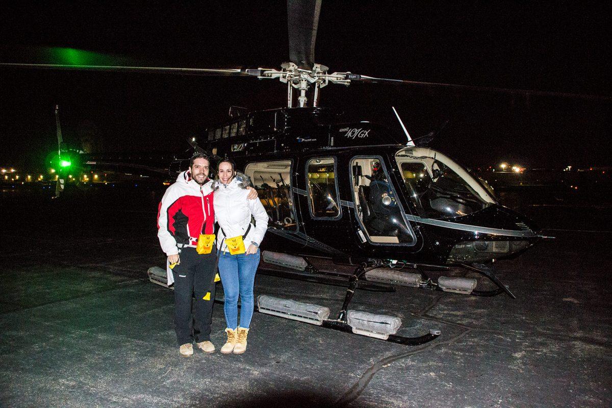 Alex y Nerea a punto de montar en el helicóptero - Mejores vistas de Manhattan