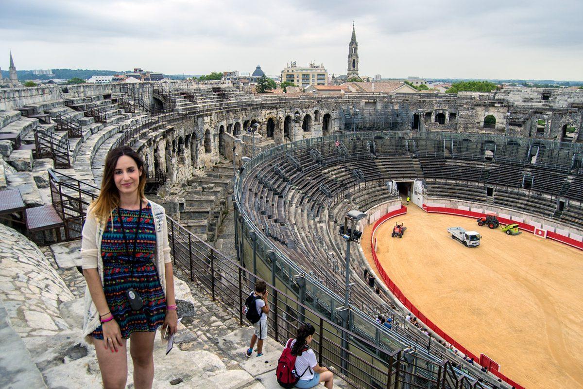 Arena de Nimes desde las gradas - qué ver en Nimes