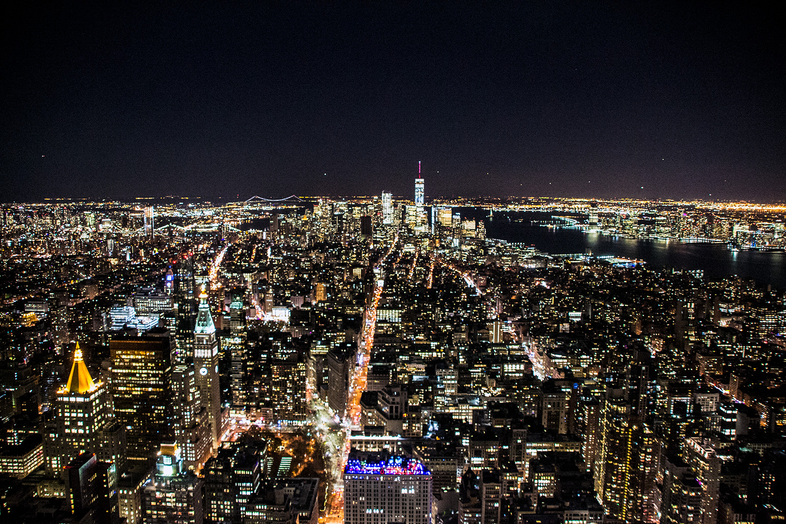 Arterias de New York desde el Empire State Building por la noche - New York CityPass