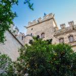 Fachada desde el patio de los naranjos de la Lonja de la Seda o de los Mercaderes - Un día en Valencia