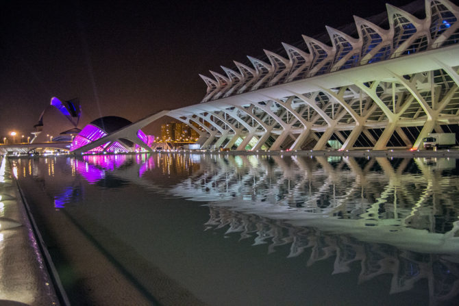 Ciudad de las Artes y las Ciencias de noche - Un día en Valencia