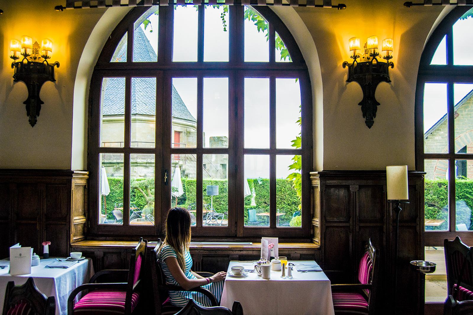 Desayunar con estas vistas en el Hotel de la Cité Carcassonne