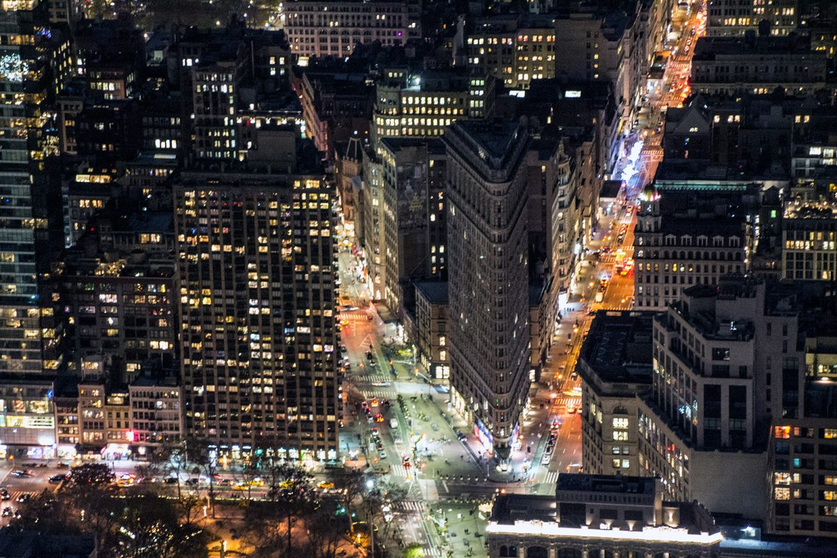 Flatiron desde el Empire State Building por la noche - Vistas de Nueva York