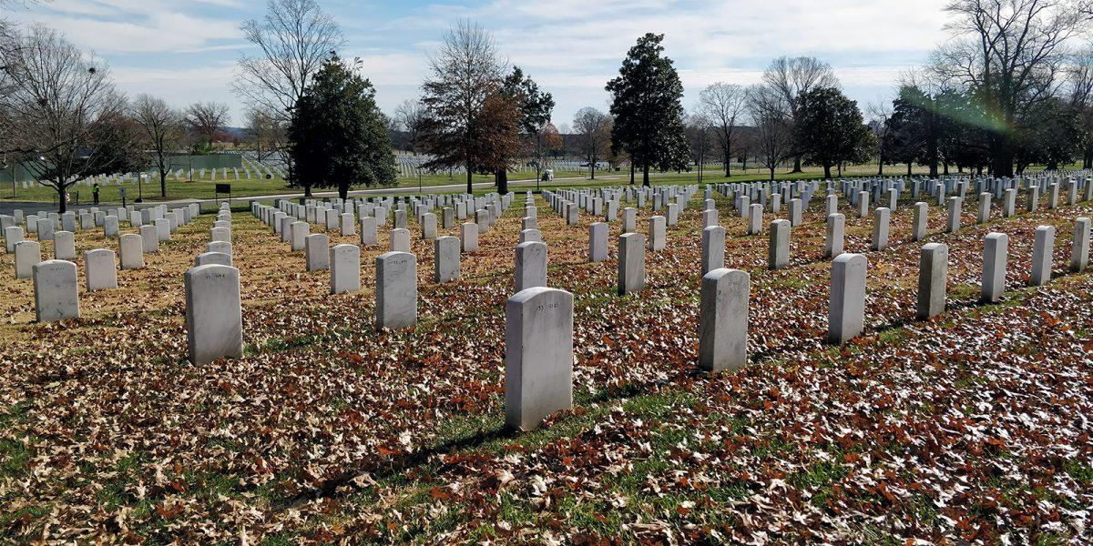 Hilera de tumbas en el Cementerio Arlington - excursiones desde Nueva York