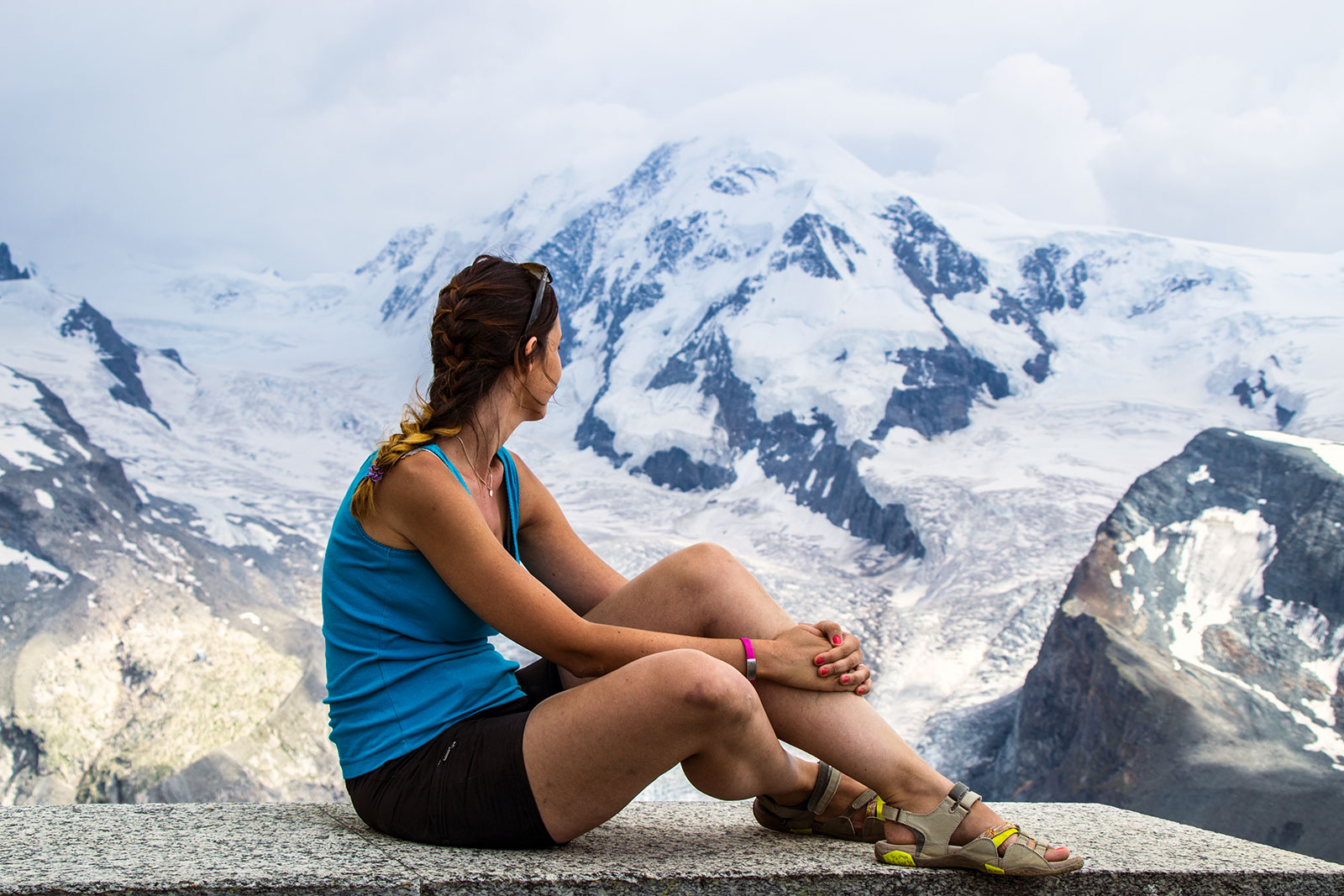 Nerea en el mirador Gornergratt – Zermatt en dos días