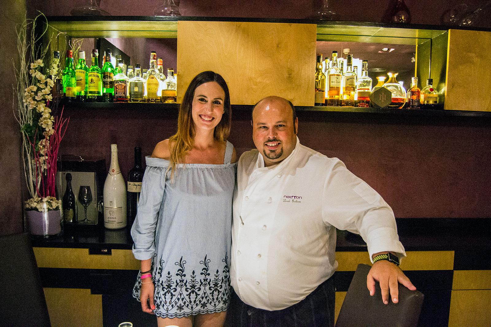 Nerea y el chef Jordi Esteve en el restaurante Nectari