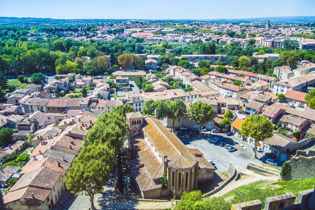Vistas de la zona externa a La Cité desde las murallas del Castillo Condal