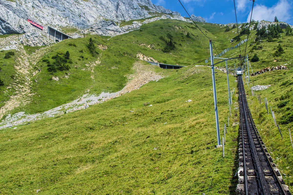 Vistas desde el tren cremallera Pilatus Lucerna - tren cremallera Monte Pilatus