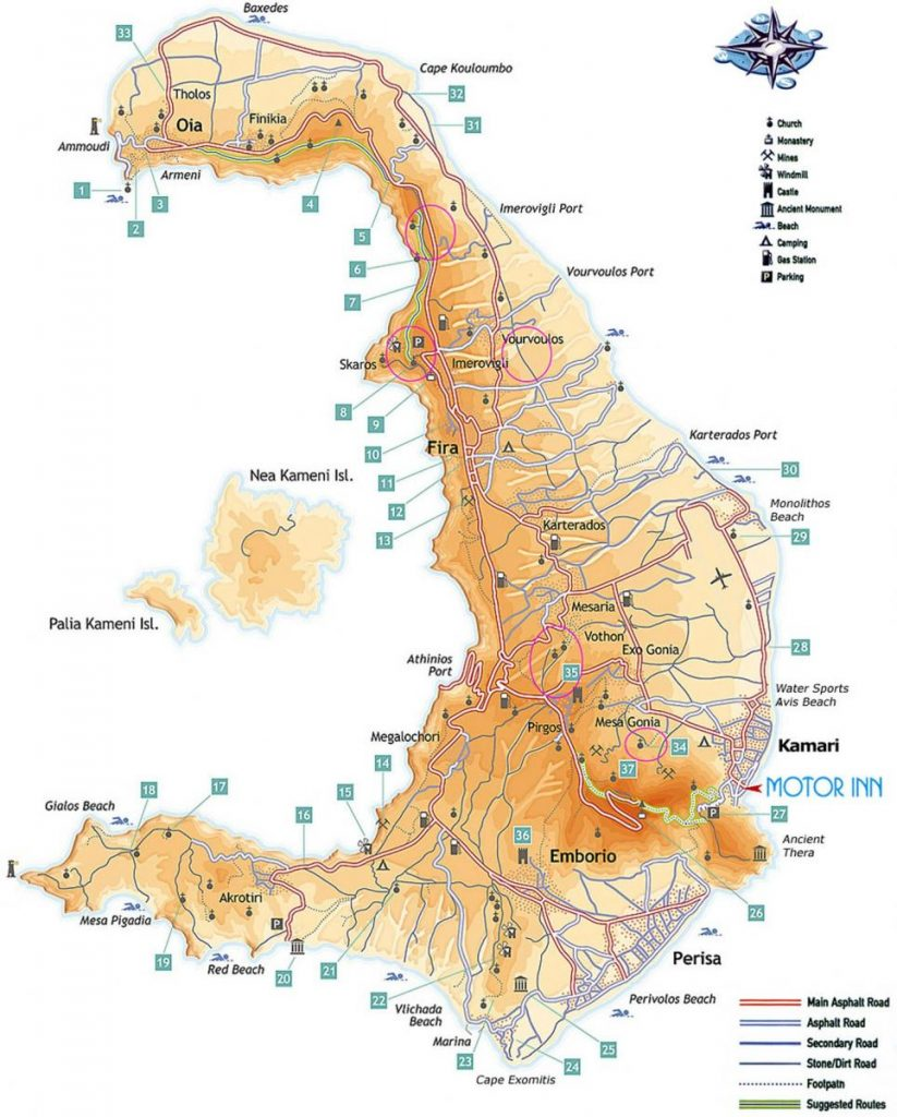 Mapa de gasolineras de Santorini