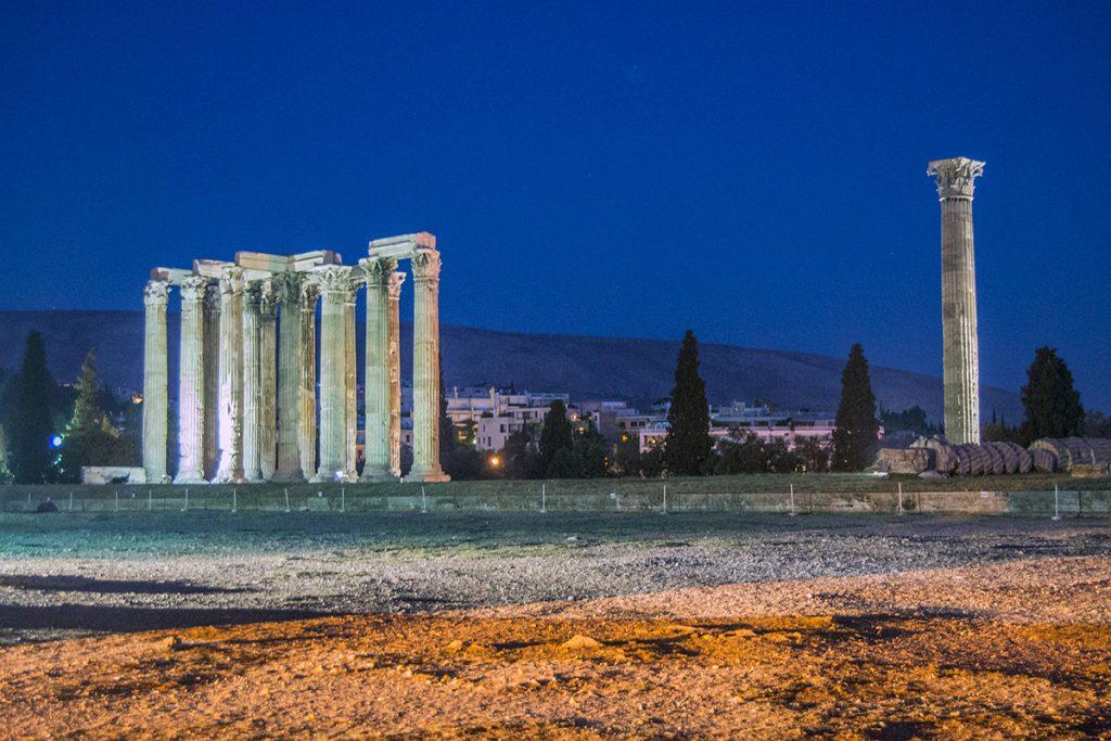 Templo Zeus - Recorrido tour al atardecer en bicicleta won We-Bikes Atenas - formas alternativas de ver Atenas