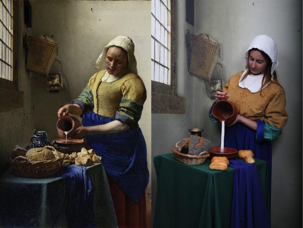 """Nerea protagonizando el famoso cuadro de """"La lechera"""" de Johannes Vermeer"""