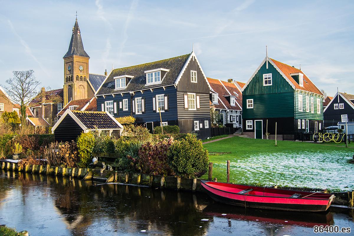 Preciosa estampa del pueblo de Marken - Monnickendam y Marken