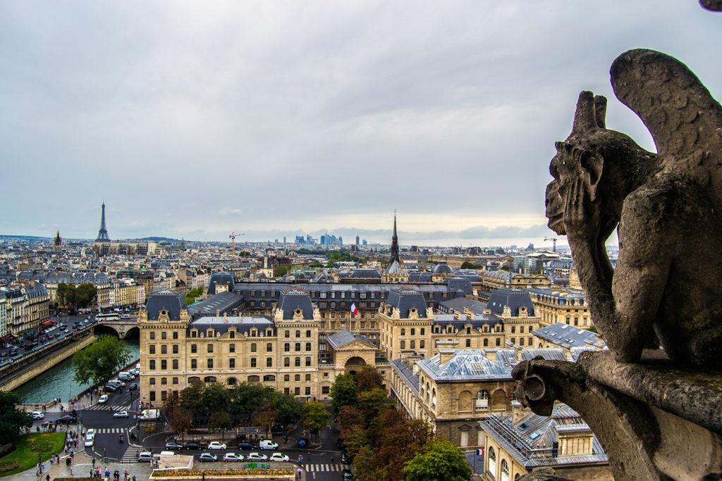 Gárgola vigilando París desde las torres de Notre Dame – París Pass de dos días