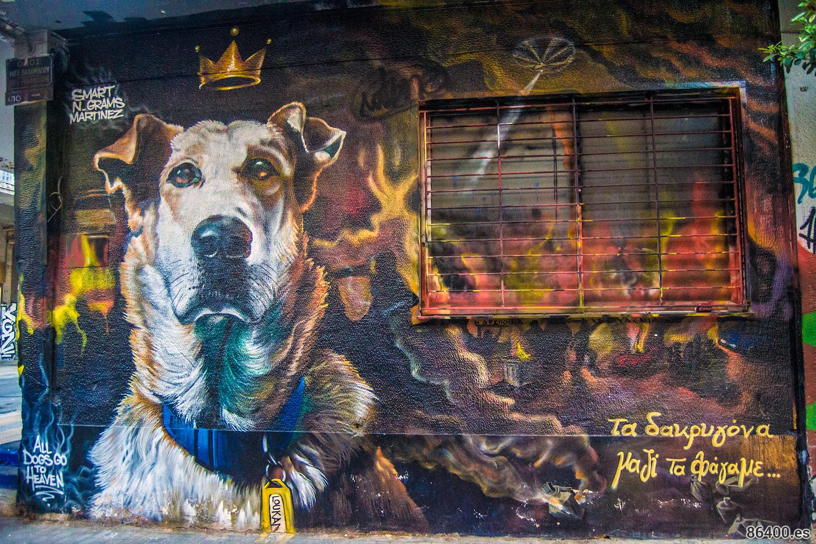 Graffiti perro Lukanicos - Explorando Atenas