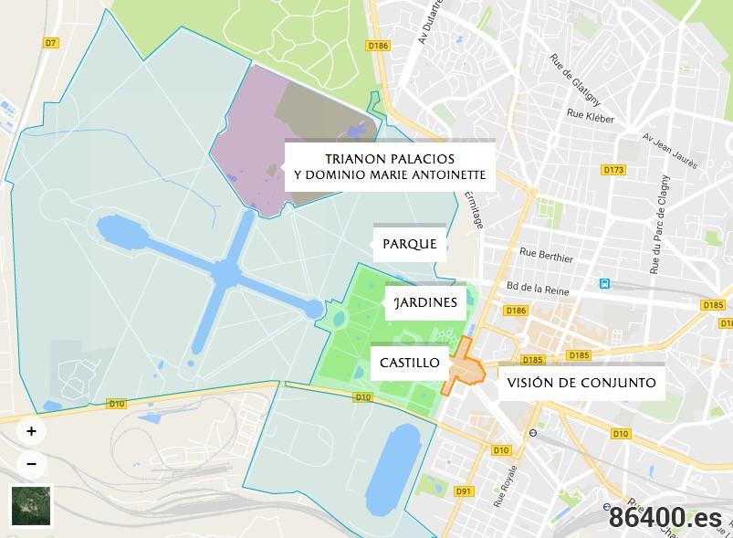 Plano del Palacio y los Jardines de Versalles - Versalles desde París